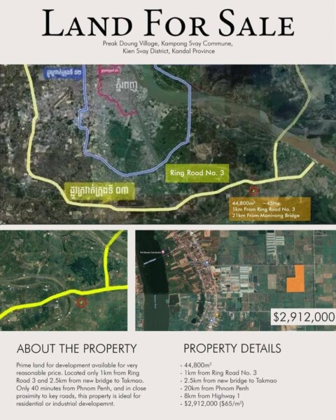 Land for Sale in Kien Svay District, Kandal Province